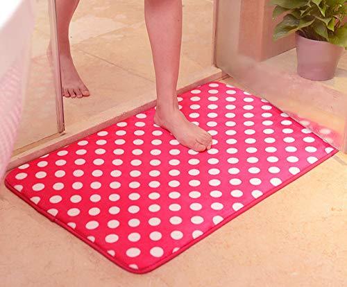 BeesClover Bathroom mat Cushion Sponge Mesh Thicken Coral Fleece Floor Bath Mats Set Non Slip Bathroom Toliet Rugs Water Absorption Carpet Wine Red 60cm 90cm by BeesClover