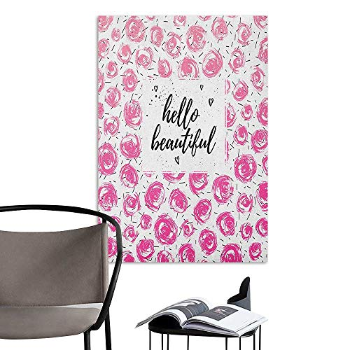 Alexandear 3D Murals Stickers Wall Decals Hello Hand Lettering Quote on Retro Floral Style Background with Watercolor Buds Pink Black White Mural Blackboard DIY White W16 x H20