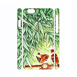 Comfortable Dustproof Handmade Chinese Painting Bamboo and Animal Pattern Phone Shell for Iphone 6 Plus Case - 5.5 Inch