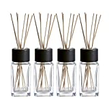Whole Housewares 100ML 3.4Ounce Clear Glass Diffuser Bottles with 24pcs Natural Reed Sticks, 4.7' H Square Diffuser...