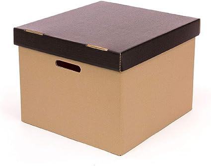 Kartox   Caja de cartón  Caja con capacidad de 3 archivadores   Fondo y tapa de color negro mate   Dimensiones: 37,2x23,7x23,3: Amazon.es: Oficina y papelería