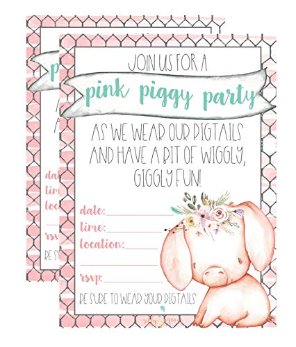 Silly Goose Gifts Pink Pig Tail Watercolor Party Invite Decor Supply Supplies (Set of 12) ()