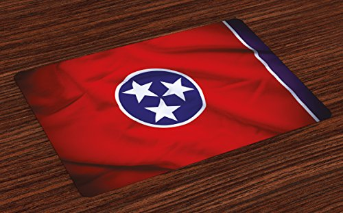 Lunarable American Place Mats Set of 4, Tennessee Flag Three Stars and Unity of The Grand Divisions Theme, Washable Fabric Placemats for Dining Room Kitchen Table Decoration, Royal Blue Red White ()