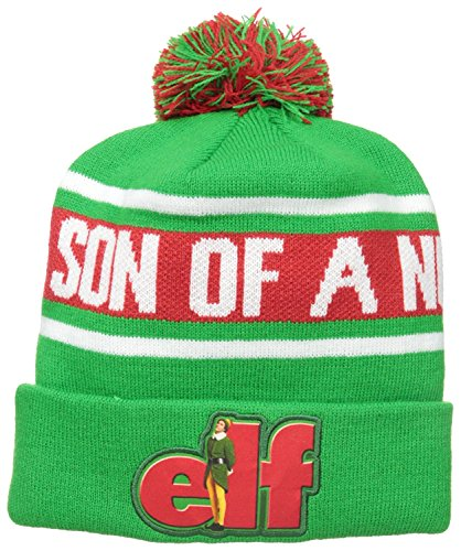 Elf Men's Son Of A Nutcracker Intarsia Knit Beanie with Pom, Green, One -