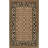 Couristan 1016/2000 Recife Garden Lattice Cocoa/Black Rug, 8-Feet 6-Inch Round