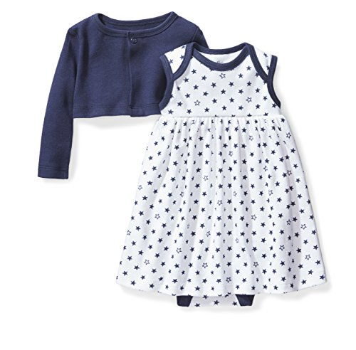 - Moon and Back Baby Girls' Organic Dress Cardigan Set, Navy Sea, Newborn