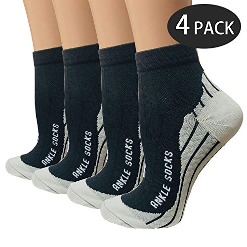 Sport Plantar Fasciitis Compression Socks Arch Support Ankle Socks - Best For Running, Athletic, and Travel (Black, Small/Medium)