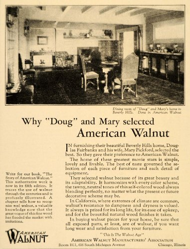 1925 Ad Douglas Mary Fairbanks American Walnut Home Furniture Beverly Hills CA - Original Print Ad