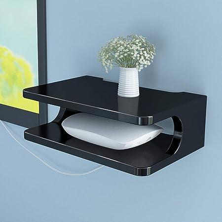 Jsmhh TV montada en la Pared del gabinete de TV Consola del Router Estante de DVD Set-Top Box Equipaje Teléfono Colgador Caja Flotante Estante de Montaje en Pared Estante (Size : Black):