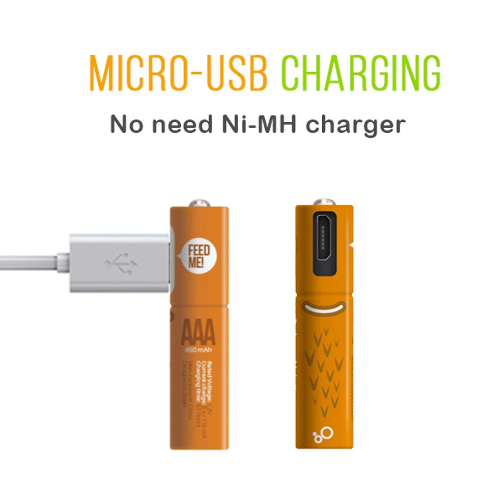 gszfsm001 2Pcs AAA 1.2V 450mAh Rechargeable Ni-Mh Battery With Dual Micro USB Charge Cable