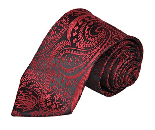 Dad Necktie (Mens Burgundy RED Black Slik Tie Adult Formal Sunny Self Modern Necktie Dad Gift)