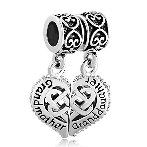 CoolJewelry Sterling Silver Grandmother & Granddaughter Heart Love Family Charm Beads For Charm Bracelet