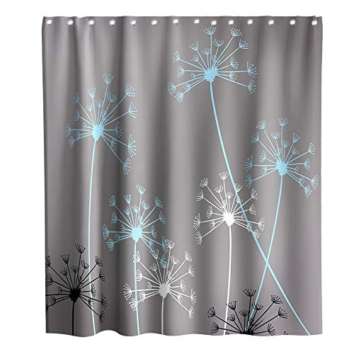 Final Friday Dandelion Theme Fabric Shower Curtain Sets Bathroom Decor with Hooks Waterproof Washable 72 x 72 inches Gray and Blue ()
