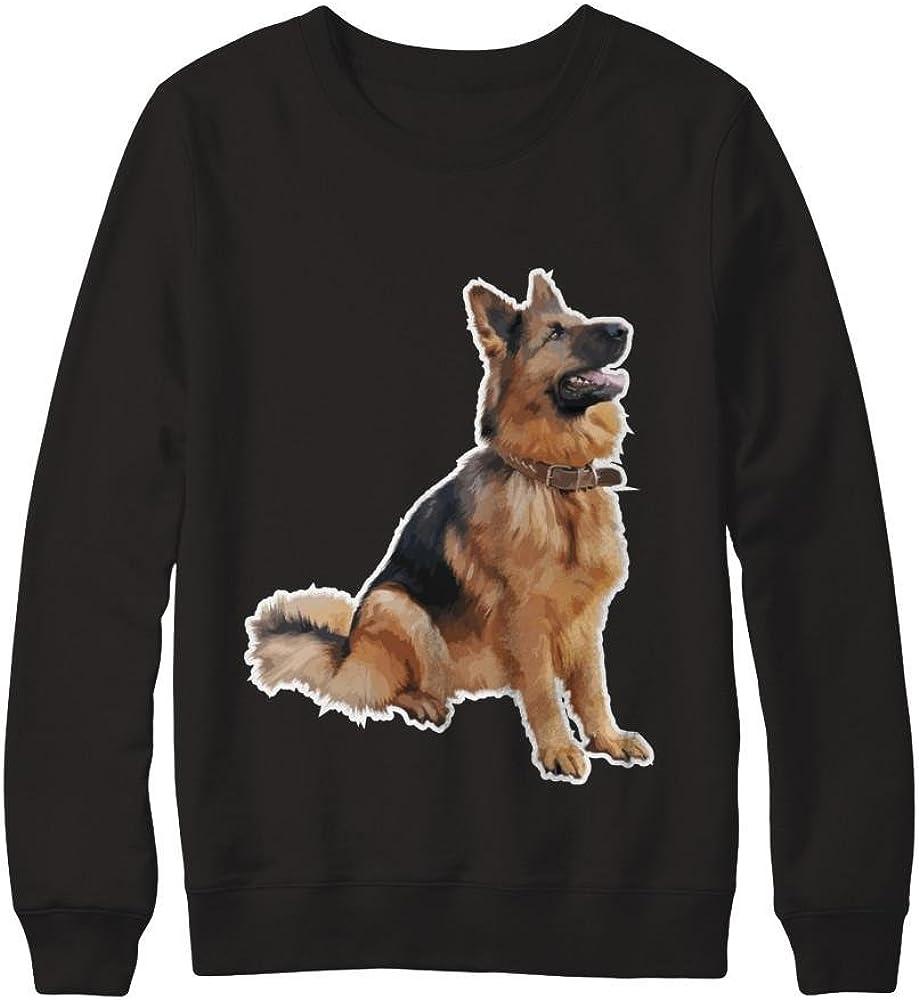 Pullover Sweatshirt Teely Shop Mens Womans Cute German Shepherd Dog Happy Puppy Gildan