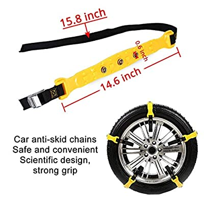 PrettyQueen SUV Car Snow Chains for Trucks Cars Snow Tire Chains for SUV Anti Slip Tire Chain Adjustable Snow Tire Cable Mergency Car Chains 185-295mm/7.2-11.6'' (Black): Automotive