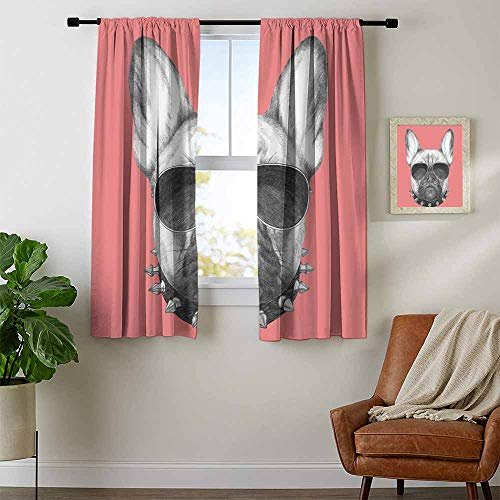 (Mozenou Bulldog, Curtains Energy Efficient, Hand Drawn Style Dog Portrait with Collar and Sunglasses on Pink Backdrop, Curtains for Bathroom, W54 x L63 Inch Black Grey and Pink)