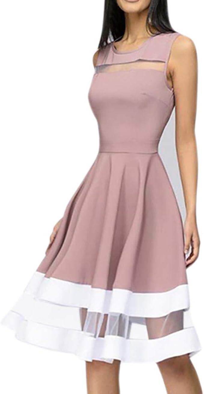 Bekleidung Kleid,Briskorry Damen Elegant Knielang Partykleider