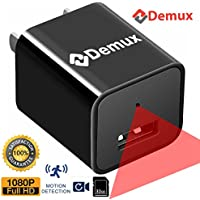 DEMUX Hidden Camera Charger | Full HD Hidden 1080P USB Spy Camera | Nanny Cam | Security Cameras for Home | Mini Secret Video Recorder | Motion Activated | Phone Wall Adapter | 32GB Internal Memory
