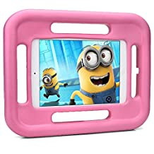 iPad Mini 4 3 2 1 kids case, COOPER GRABSTER Rugged Heavy Duty Gaming Children's Toy Tough Rubber Bumper Drop Proof Protective Carry Case Cover Handle, Screen Protector [Apple iPad Mini - Pink]