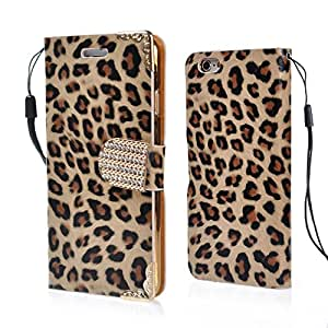 iPhone 6 Case, Fine Fair Leopard Grain Metal Buckle PU PC Case Cover with Name Card Slots and String for iPhone 6 4.7 inch Gold