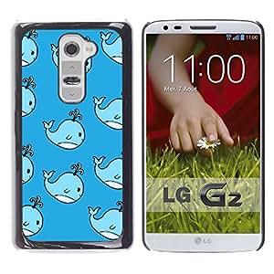 Whale Niños lindos Dibujo Azul hijos de- Metal de aluminio y de plástico duro Caja del teléfono - Negro - LG G2
