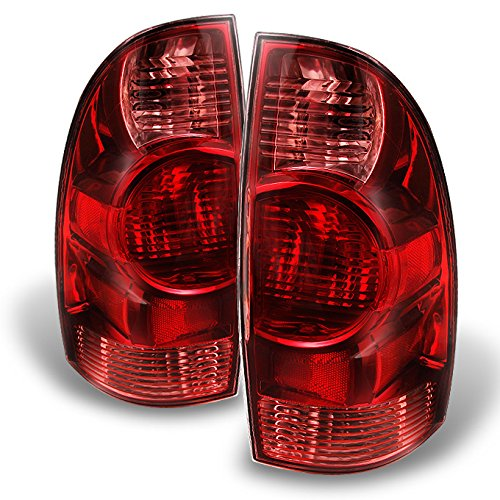 (For Toyota Tacoma Pickup Truck Red Clear Tail Lights Driver Left + Passenger Right Side Replacement)