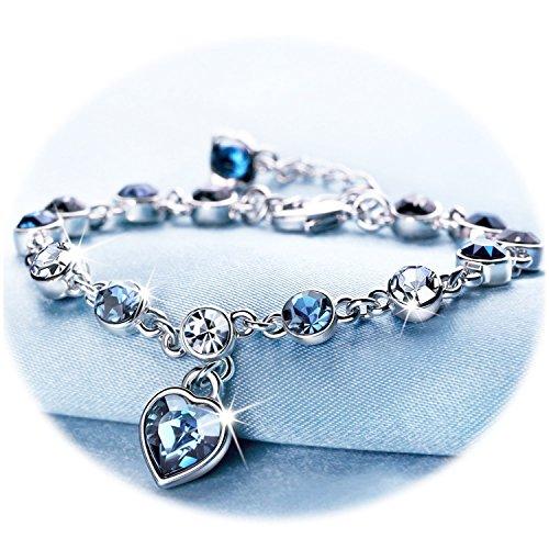 Love Heart Ocean Blue Crystal Bracelet Women and Teens Sapphire Birthstone Eternal Love Charms Bracelets