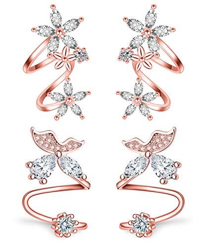 (Anlsen 2 Pairs Ear Cuffs Stud Earrings for Women Girls Cubic Zirconia Flower Fairy Butterfly Wrap Clip Climber Earrings (For Pierced Ear))