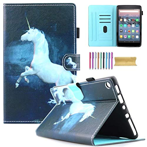 Fire HD 8 Case, AMotie Folio Leather Wallet Cover w/Credit Card Slots & Auto Sleep Wake for All New Fire HD 8.0 inch Tablet (5th 6th 7th 8th Generation, 2015 & 2016 2017 2018 Release), Unicorn