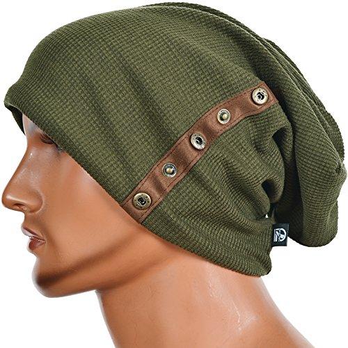 Men's Slouch Knitted Beanie Hat Crochet Stripe Winter Cap Oversized B318 (B020-Green)