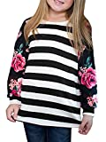 KunLunMen Girls Clothes Fall T Shirts Floral Tops Casual Long Sleeve Blouses 9-10 Years