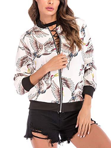 Coat Corto Bianco Fiore Shallgood Modello Vintage Casual Inverno Pilot Eleganti Autunno Ragazza Stampa Giubbino Cerniera Lunghe Fashion Donna Giacca Con Gru Maniche Outwear EBBwCqA1