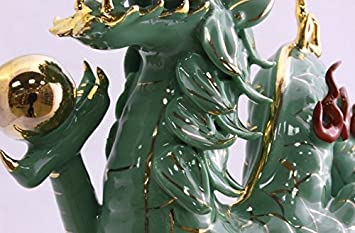 Feng Shui Dragon – Hand Crafted and Decorated Chinese Porcelain, Figurine 100332 Green
