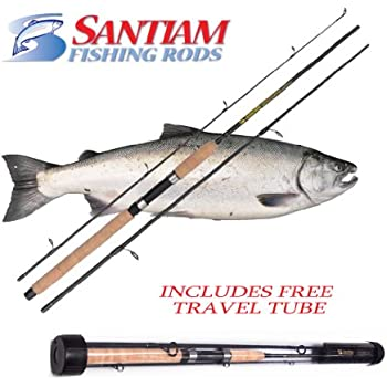 "Santiam Fishing Rods Travel Rod 3 Piece 8'6"" 12-30LB MH Graphite Spinning Rod"