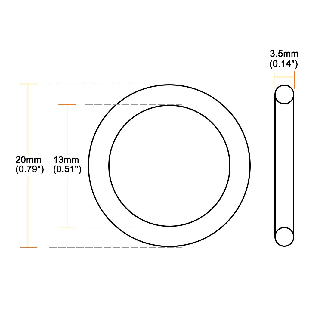 3.5mm Width Round Seal Gasket 13mm Inner Diameter Pack of 50 uxcell O-Rings Nitrile Rubber 20mm OD