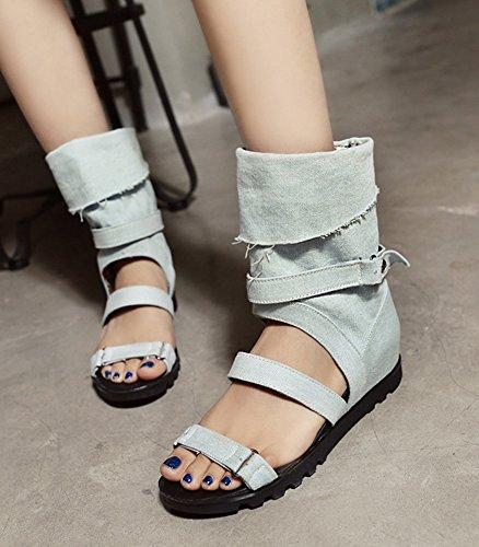 Plat Jean Femme Ouvert Mode Bout Bleu Bottes Aisun Plage Clair Talon Sandales q0wIaa