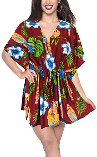 LA LEELA Plus Size Bikini Swimwear Cover up Dress Maroon_B633 OSFM 16-28W [XL- 4X] - Kimono Silk Tunic