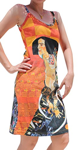 Raan Pah Muang RaanPahMuang Gustav Klimt Judith II Spaghetti Strap Dress, Large