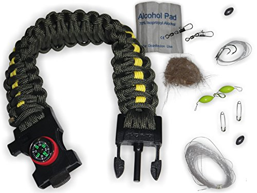 Survival Paracord Bracelet |25-in-1| Emergency Tactical Survival Gear Kit Camping, Fishing, Hunting & Outdoors | Multipurpose Survival Tool 550, Whistle, Flint Fire Starter (Green/.Yellow, X-Large)