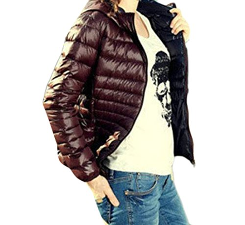 MU2M Womens Fashion Padded Warm Hoodie Zipper Short Down Coats Puffer Jacket Khaki