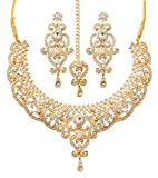 Alloy metal, gold tone, very exotic, rich and stylish, traditional bridal necklace set, with beautiful danglers and Mangtika.
