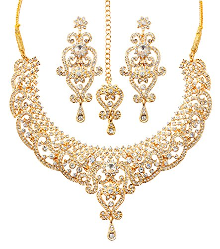 - Touchstone gold tone royal Indian bollywood white rhinestones grand bridal jewelry necklace for women