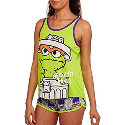 Make Bert Ernie Costume (Oscar The Grouch Juniors Sleep Tank and Boxer Short Pajama Set (XS))