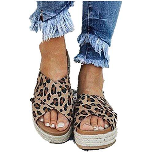 Cenglings Women's Leopard Print Sandals, Espadrilles Open Toe Cross Thick-Bottom Slides Sandals Platform Beach Wedge Shoes Brown