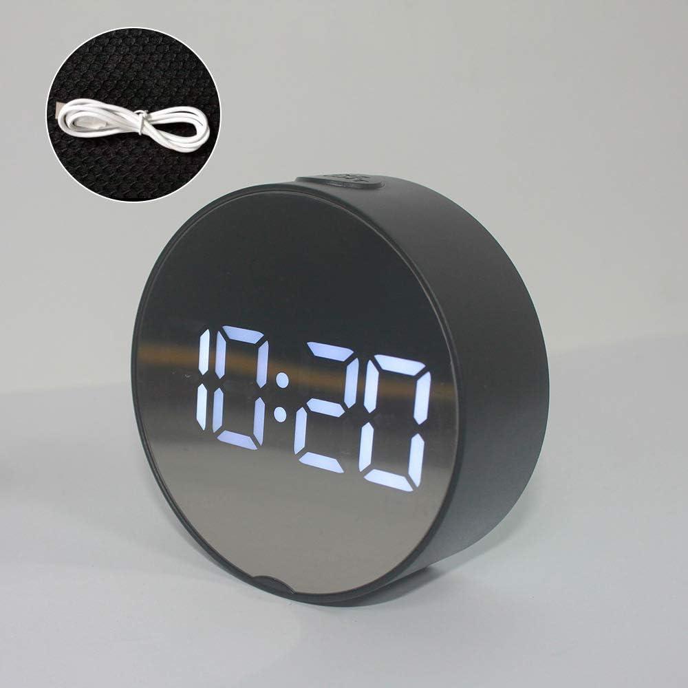 Souarts R/éveil Num/érique Miroir R/éveil avec Temp/érature LED Affichage Snooze Temps Luminosit/é R/églable USB /& Pile Aliment/é pour Chambre Bureau