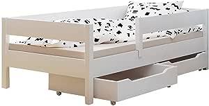 Cama individual para niños con cajones y colchón, 4 colores, muchos tamaños diferentes (140 x 70 cm), color blanco