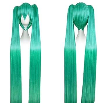 CoolChange peluca de Miku Hatsune con dos colas largas, verde