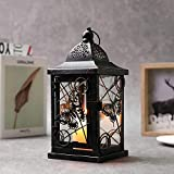 """JHY DESIGN Butterfly Decorative Candle Lanterns 9.5"""" High Rustic Black Metal Lantern Candle Holder for Home Decor Indoor…"""