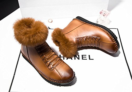 Leather Slip Warm Boots Ankle Thick Snow Women's Duberess Fleece Winter Brown Anti Real a8qx1w