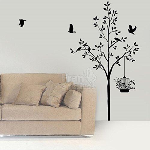 Adesivo de Parede Floral Árvore e Pássaros - EG 135x80cm